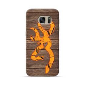 Orange Browning Logo Wood Grain Samsung Galaxy S7 Case