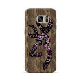 Pink Browning Logo Wood Grain Samsung Galaxy S7 Case