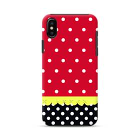 Red Black And Polka Dots iPhone XS Max Defender Case