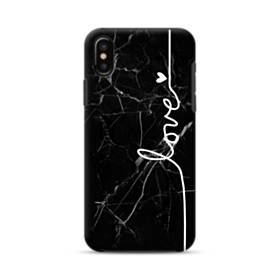 Love Heart Black Marble iPhone XS Max Defender Case
