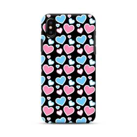 Heart Pattern Pink Blue iPhone XS Max Defender Case