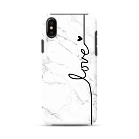Love Heart White Marble iPhone XS Max Defender Case