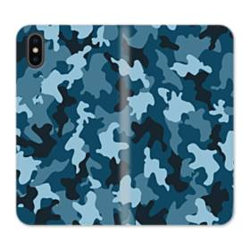 Military Blue Camouflage iPhone X Flip Case