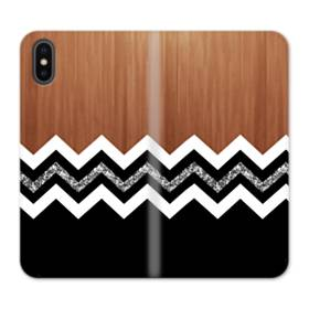 White And Black Chevron With Wood Texture iPhone X Flip Case