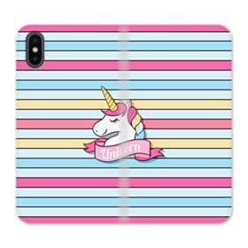 Unicorn Pink Banners iPhone X Flip Case