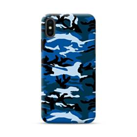 Blue Navy Camouflage Camo iPhone XS Max Case