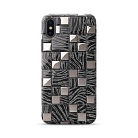 Silver Black Glass Mosaic Tiles iPhone XS Max Case