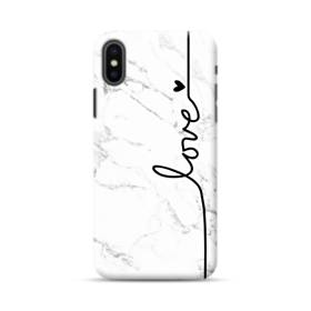 Love Heart White Marble iPhone XS Max Case